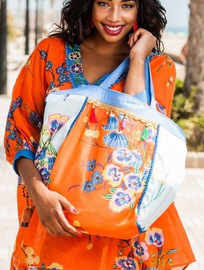 Яркая хлопковая летняя большая сумка с цветочным принтом оранжево-голубого цвета, фото 1