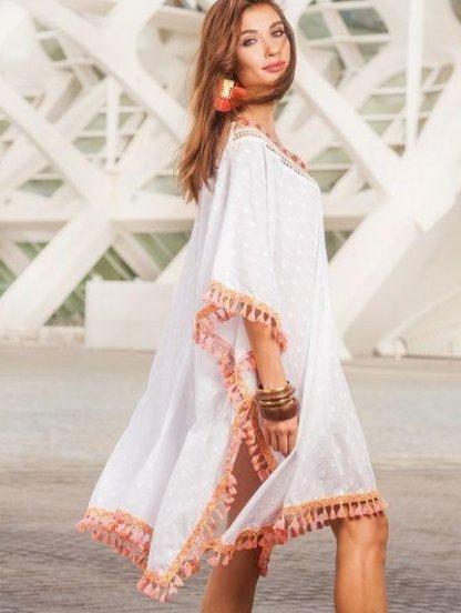 Хлопковая туника с коротким рукавом и бахрамой, фото 1