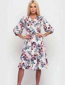 Красивое весеннее серое платье миди с цветами
