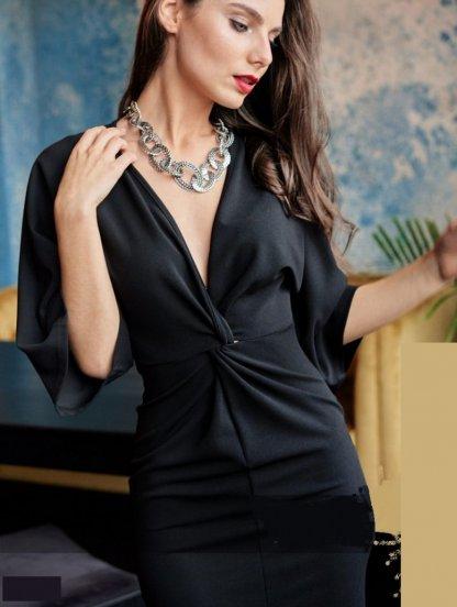 Нарядное красивое платье длины миди с V-образным декольте, фото 1