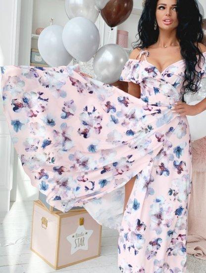 Летнее красивое платье с открытыми плечами, фото 1