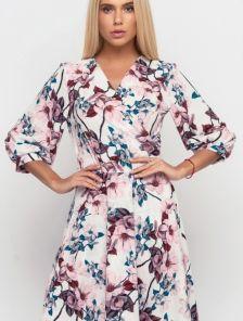 Красивое весеннее розовое платье миди с цветами