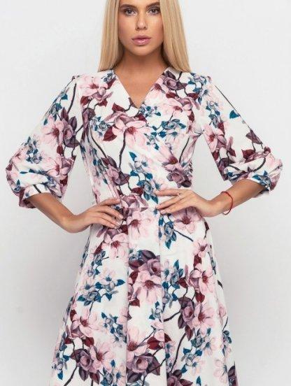 Красивое весеннее розовое платье миди с цветами, фото 1