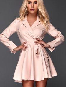 Короткое мини платье с запахом и с пышной юбкой