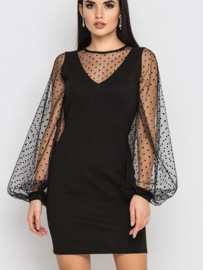 Черное короткое платье на длинный объемный рукав из сетки в горох, фото 1