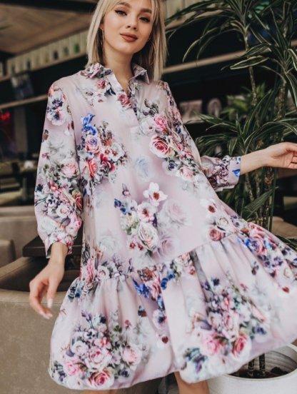 Платье свободного кроя с цветочным принтом и рукавом 3\4, фото 1
