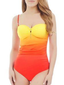 Слитный купальник с эффектом омбре оранжево-красного цвета Marc&Andre