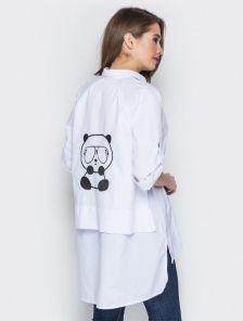 Белая хлопковая блуза с удлиненной спинкой и V образным вырезом