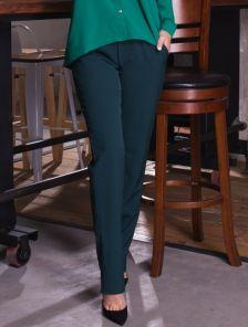 Зелёные классические прямые брюки с карманами