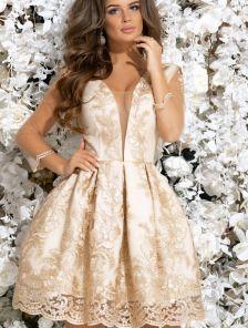 Коктейльное блестящее платье с кружевной вышивкой