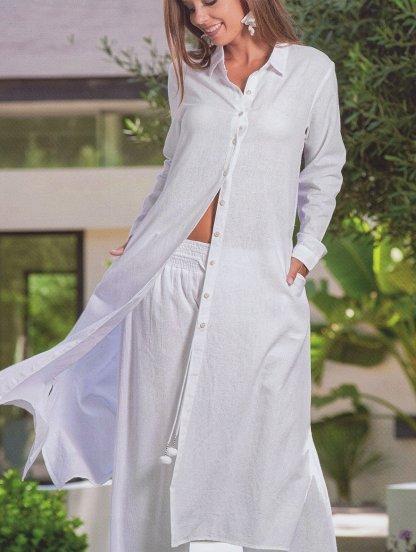 Свободные летние брюки белого цвета с ризинкой на поясе, фото 1
