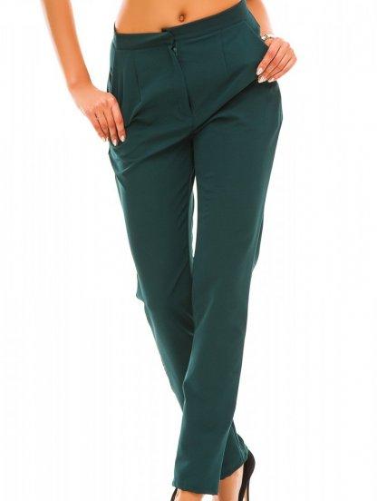 Зелёное классические прямые брюки с высокой талией и карманами, фото 1