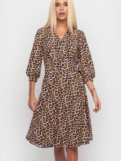 Красивое леопардовое молодежное платье, фото 1