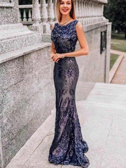 Вечернее длинное силуэтное платье черного цвета с напылением, фото 1