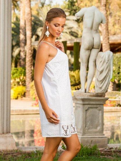 Белое платье сарафан на бретельках с перфорацией, фото 1