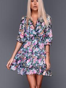 Короткое летнее шифоновое платье с цветочным принтом с открытой спинкой