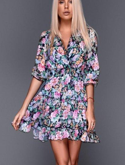 Короткое летнее шифоновое платье с цветочным принтом с открытой спинкой, фото 1
