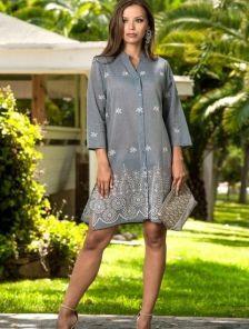Голубое платье рубашка под джинс на пуговицах с рукавом 3\4