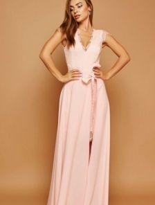 Вечернее персиковое кружевное платье со сьемной пышной юбкой