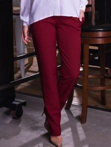 Бордовые классические прямые брюки с карманами