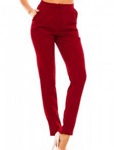 Бордовые классические прямые брюки с высокой талией и карманами
