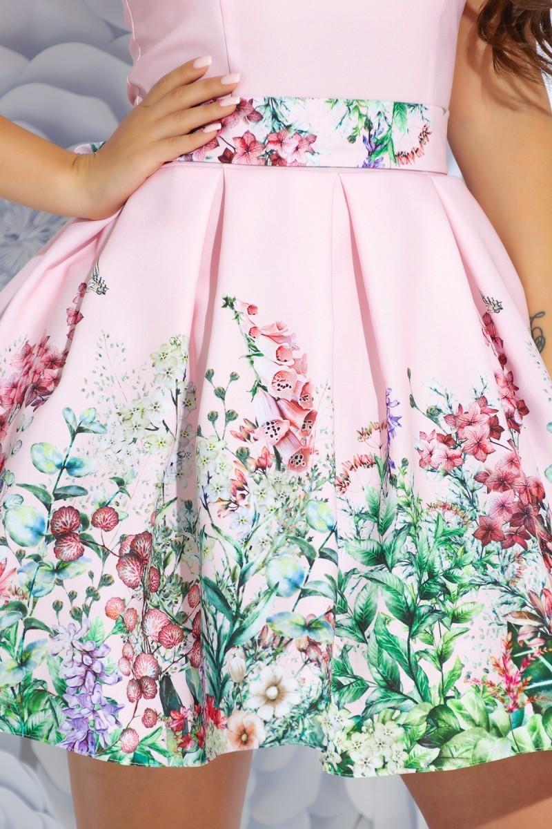 ecef473dd49 Розовое короткое платье с пышной юбкой и цветочным принтом (S