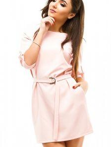 Короткое розовое платье с рукавом 3/4 под пояс с карманами