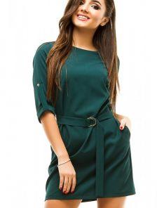 Короткое платье зелёного цвета с рукавом 3/4 на пуговице
