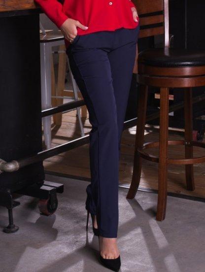 Тёмно-синие классические прямые брюки с карманами, фото 1