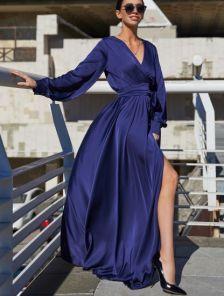 Вечернее синее платье с запахом