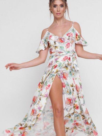 Длинное белое летнее платье с цветочным принтом и воланами, фото 1