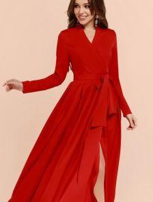 Нарядное платье с запахом на длинный рукав