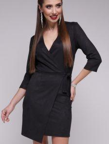 Короткое черное молодежное платье из еко замши