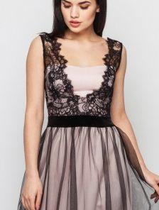 Вечернее нарядное длинное платье с кружевным топом