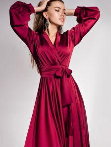 Длинное вечернее платье с запахом на длинный рукав