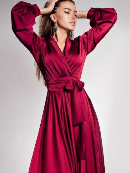 Длинное вечернее платье с запахом на длинный рукав, фото 1