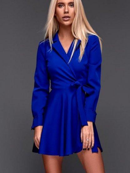 Синее яркое короткое платье с пышной юбкой на запах, фото 1