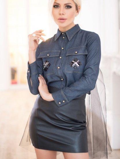 Черная мини юбка с эко-кожи с высокой посадкой и молнией сзади, фото 1