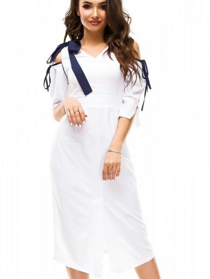 Летнее короткое белое платье футляр с разрезом спереди и открытыми плечами, фото 1