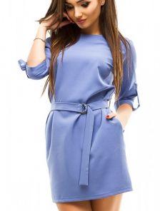 Короткое голубое платье с рукавом 3/4 под пояс с карманами