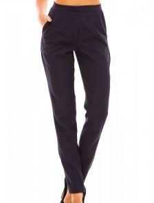 Тёмно-синие классические прямые брюки с высокой талией и карманами
