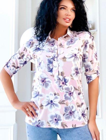 Светлая летняя рубашка в цветы с рукавами 3/4, фото 1