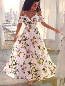 Длинное летнее платье в цветы