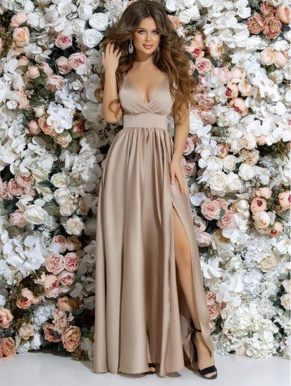 Бежевое длинное платье с пышной юбкой, фото 1