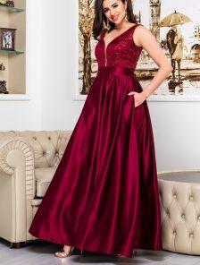 Вечернее красное длинное платье с атласной юбкой и прозрачной спиной