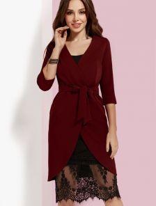 Платье бордовое двойка: молодежное бельевое платье с кружевом и пиджак