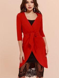 Платье красное двойка: молодежное бельевое платье с кружевом и пиджак
