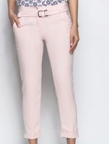 Укороченные зауженные брюки нежно розового цвета