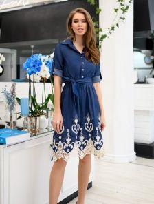 Джинсовое модное платье с кружевом рукавом 3/4 на пуговичках с поясом
