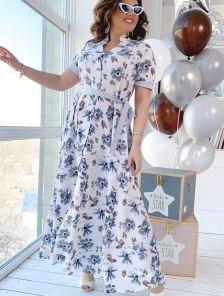 Длинное летнее платье большого размера с коротким рукавом с поясом